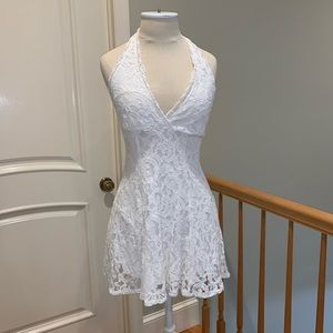 White Lace Halter Dress - XS